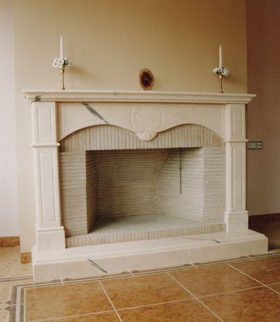 Modeled marble fireplace