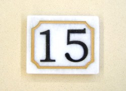white marble house number